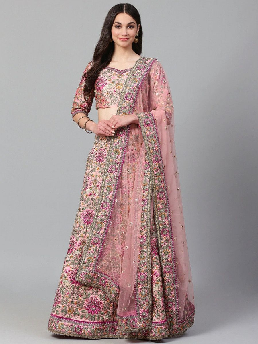 Pink & Golden Semi-Stitched Myntra Bridal Lehenga & Unstitched Blouse with Dupatta