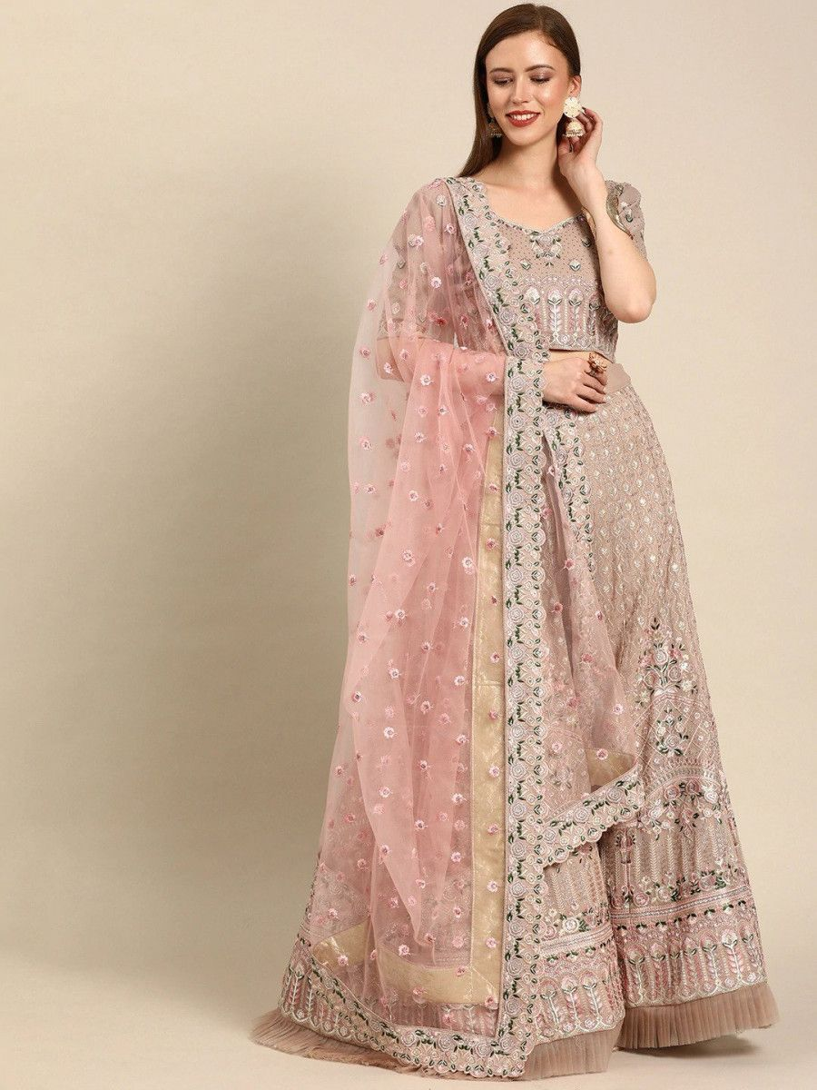 Beige & Pink Embroidered Semi-Stitched Myntra Lehenga & Blouse with Dupatta