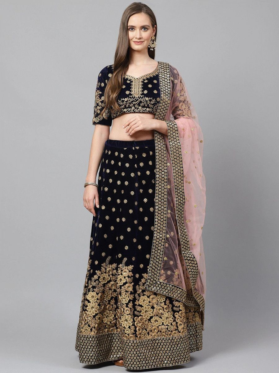 Navy Blue & Pink Embroidered Semi-Stitched Myntra Wedding Lehenga & Unstitched Blouse with Dupatta