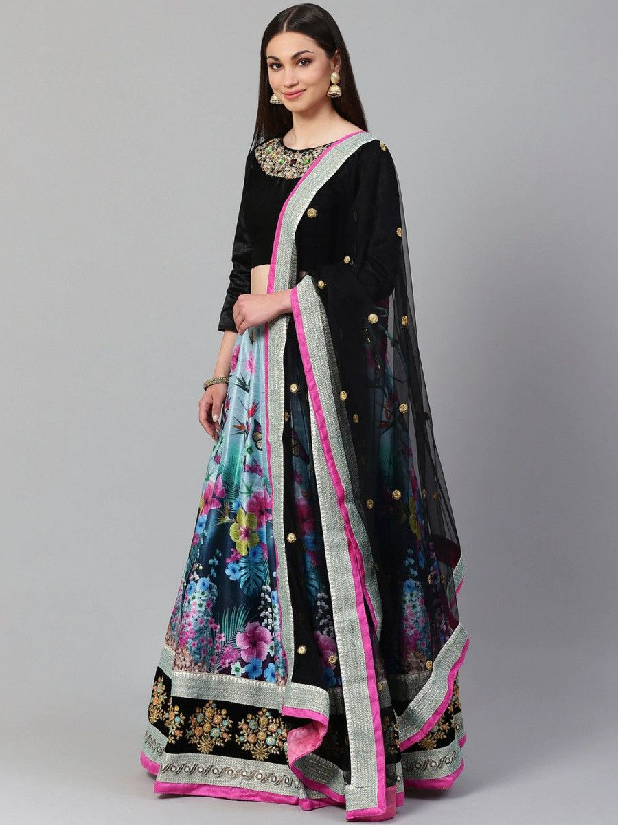 Blue & Black Solid Semi-Stitched Myntra Lehenga & Unstitched Blouse with Dupatta