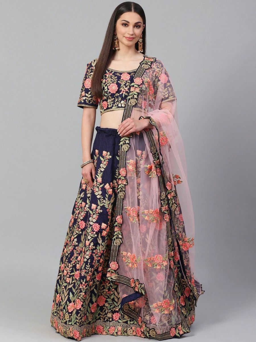 Navy Blue & Pink Embroidered Semi-Stitched Myntra Lehenga & Unstitched Blouse with Dupatta