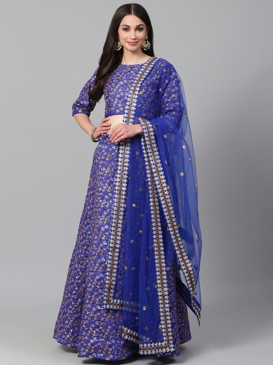 Blue & Golden Semi-Stitched Myntra Party Wer Lehenga & Unstitched Blouse with Dupatta