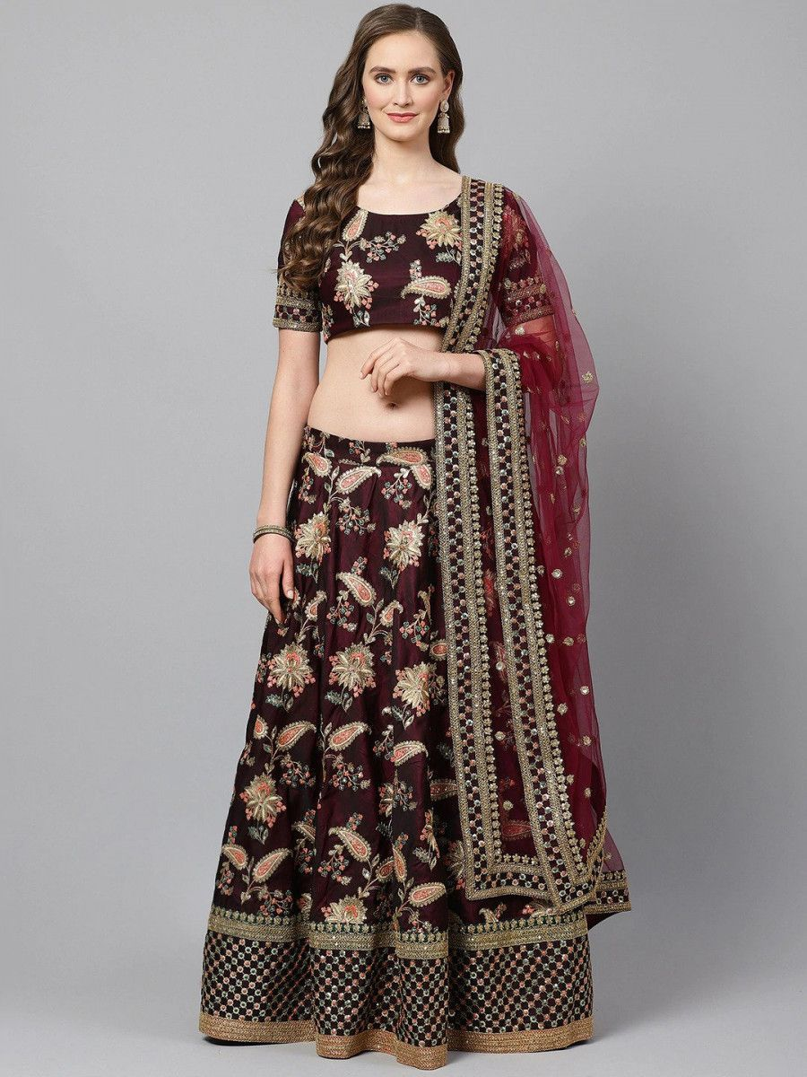Burgundy Semi-Stitched Myntra Lehenga & Unstitched Blouse with Dupatta
