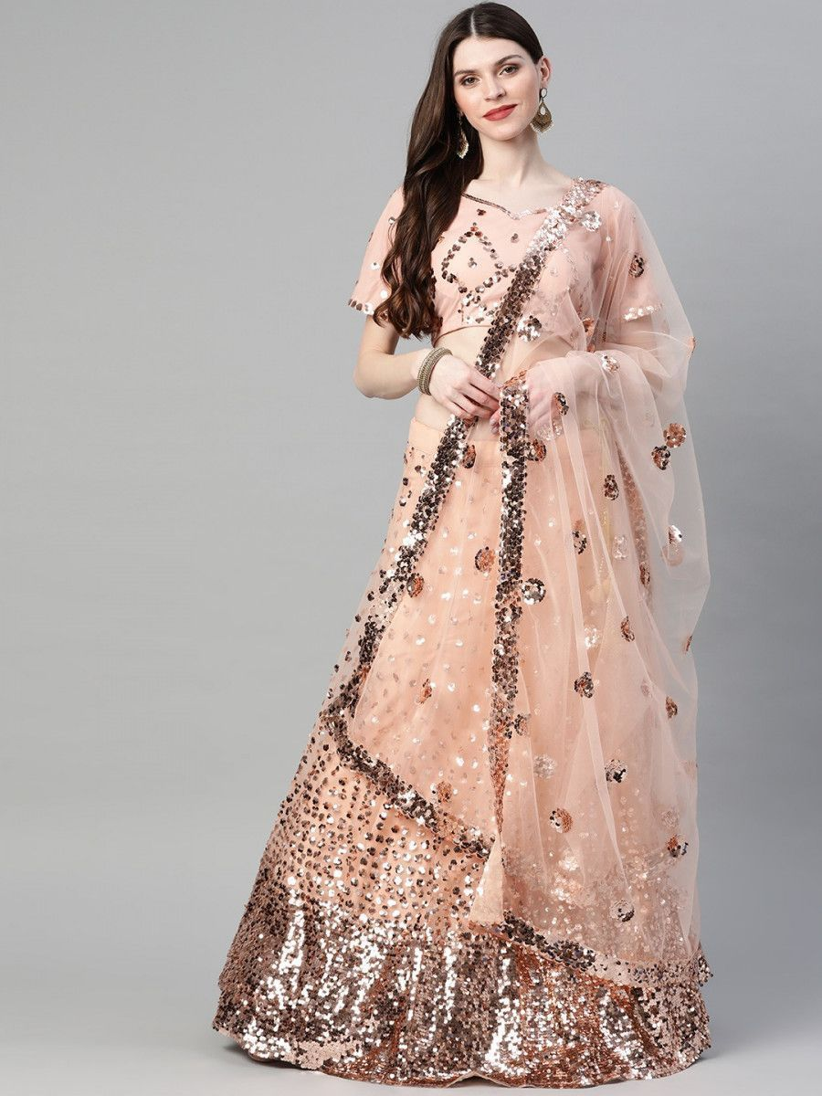 Peach-Coloured Semi-Stitched Myntra Lehenga & Unstitched Blouse with Dupatta