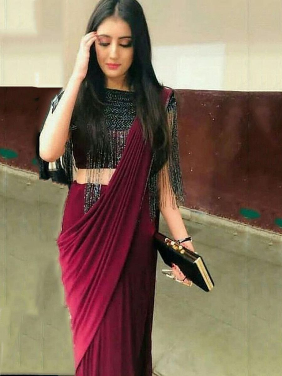 Maroon Ready To Wear Silk Party Wear Saree With Blouse