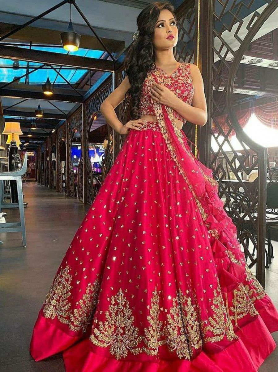 Pink Embroidery Work Net Wedding Wear Lehenga Choli