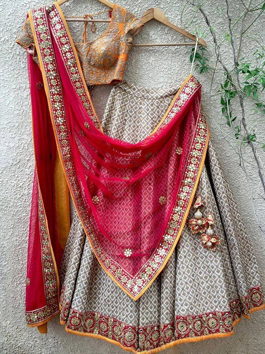 Grey Embroidered Taffeta Silk Wedding Wear Lehenga Choli