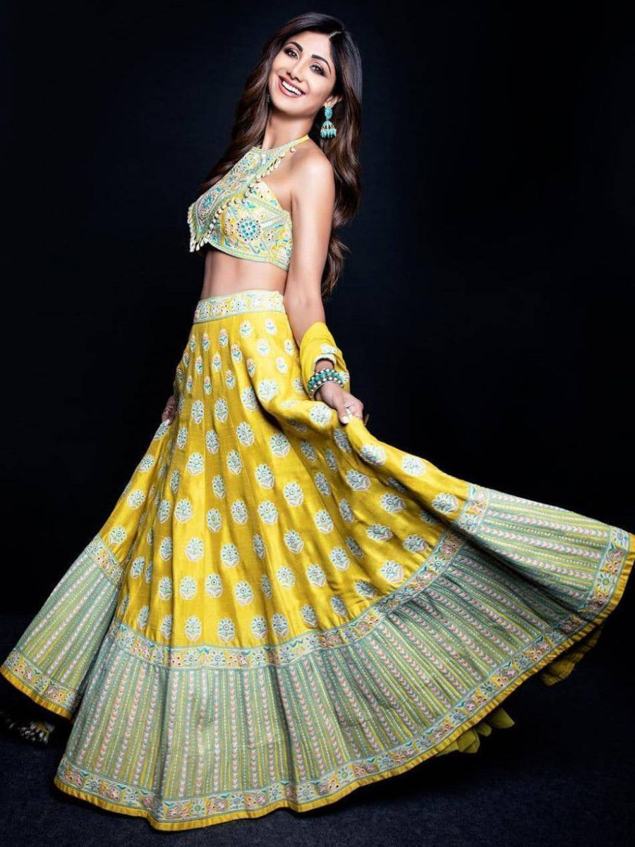 Shilpa Shetty Yellow Thread Mirror Work Silk Navratri Lehenga Choli