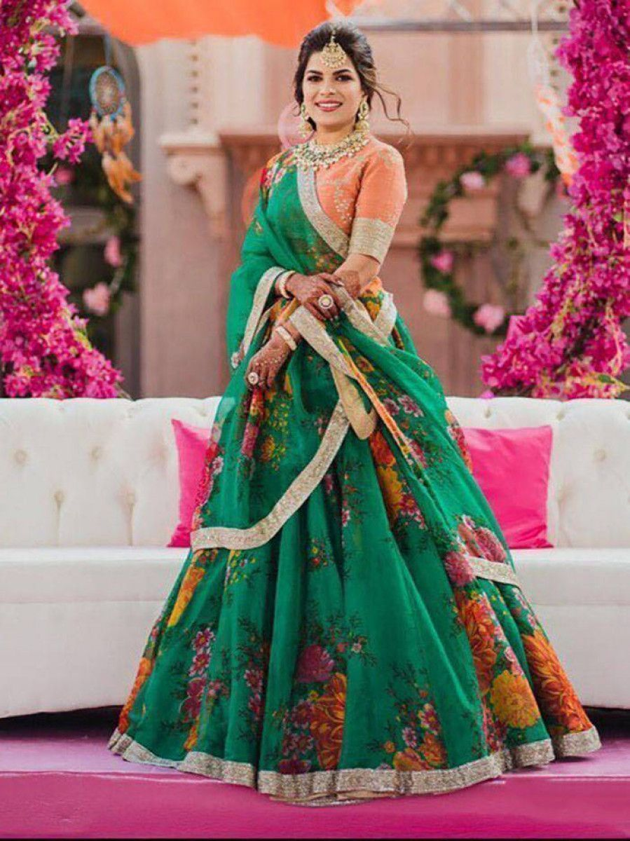 Green-Orange Floral Digital Printed Organza Bridal Lehenga Choli