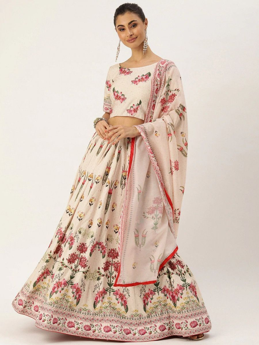 Cream-Coloured & Pink Printed Myntra Lehenga & Blouse with Dupatta