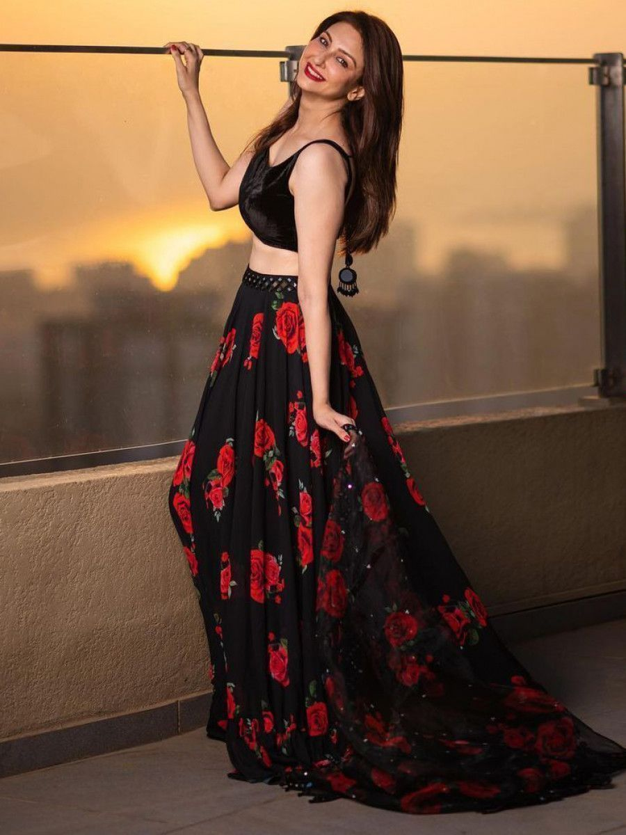 Saumya Tandon Black Rose Floral Georgette Party Wear Lehenga Choli
