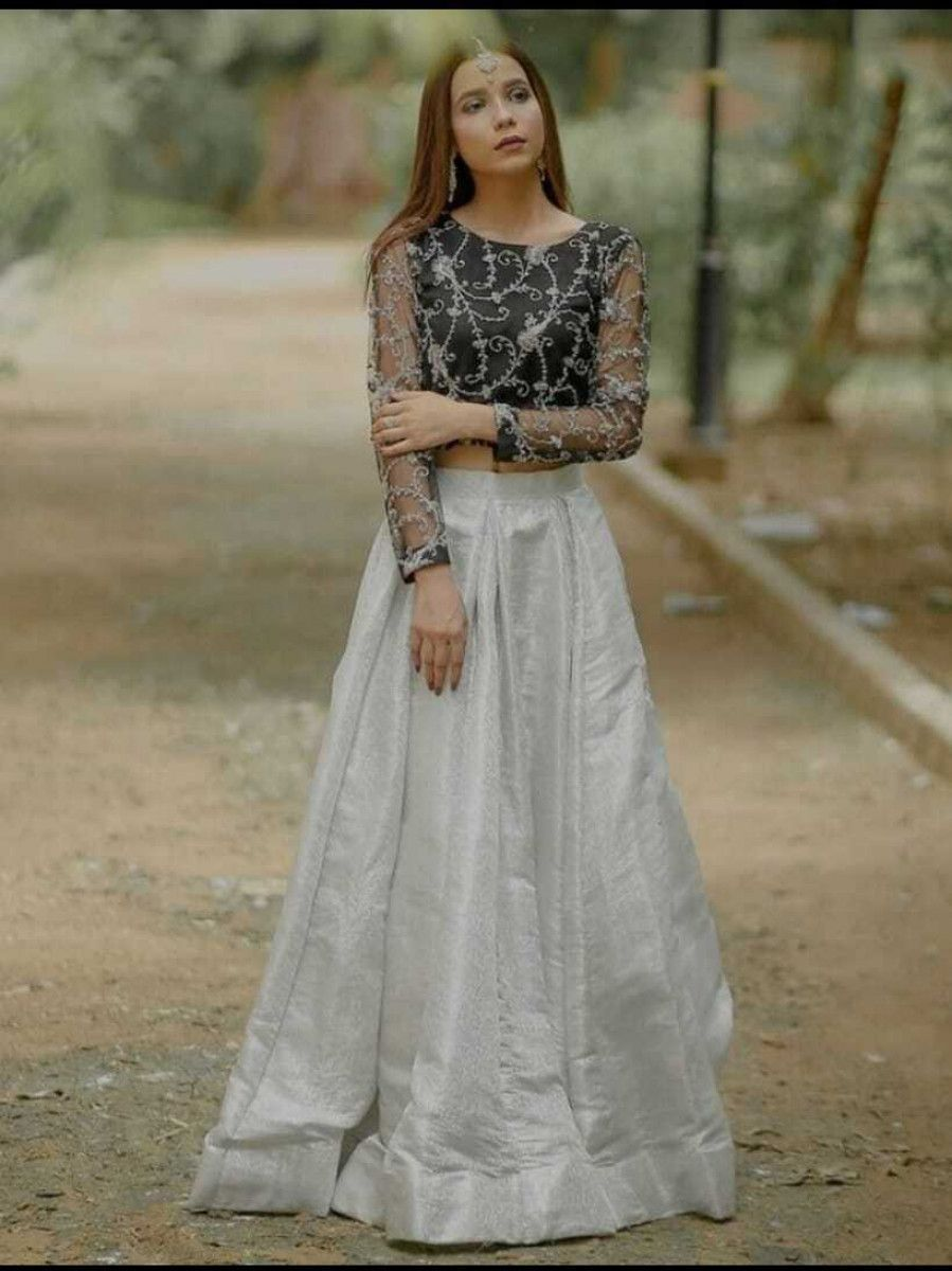 Grey Embroidered Jacquard Party Wear Crop Top Lehenga
