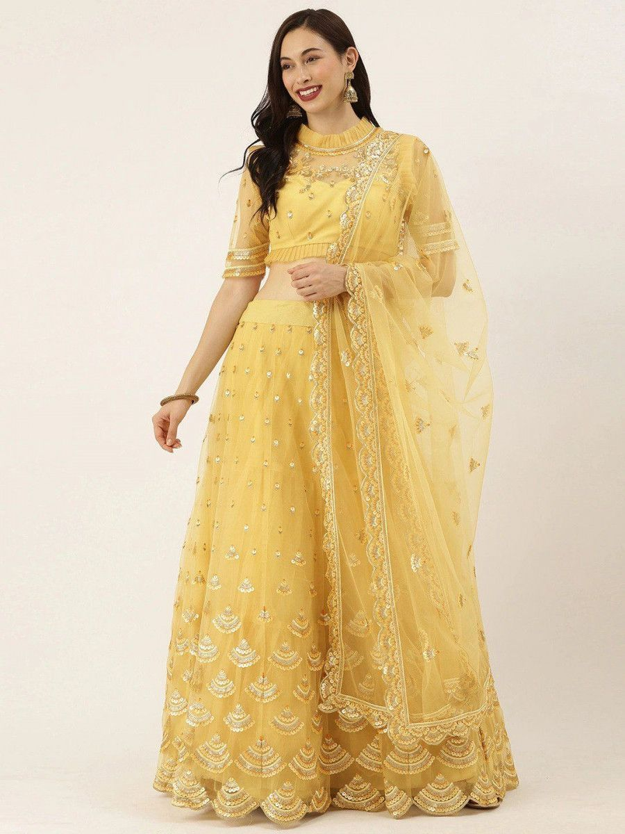 Yellow Embroidered Semi-Stitched Myntra Lehenga & Unstitched Blouse with Dupatta