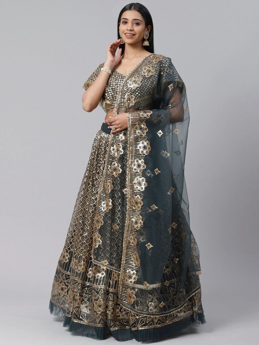 Green & Golden Embellished Semi-Stitched Myntra Lehenga & Unstitched Blouse with Dupatta