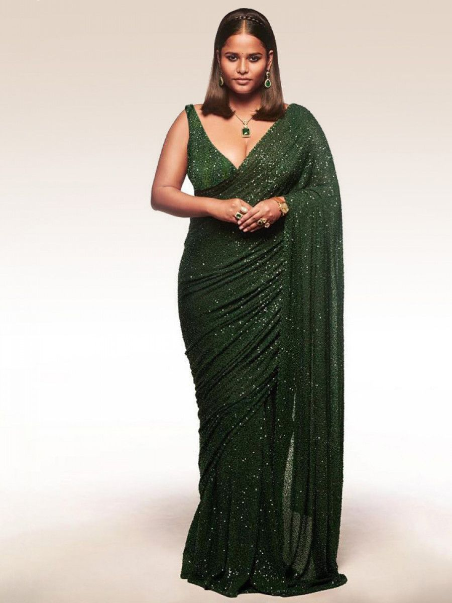 Sabyasachi Bottle Green Sequins Georgette Party Wear Saree With Blouse