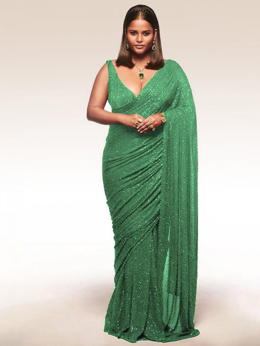 Sabyasachi Green Sequins Georgette Party Wear Saree With Blouse