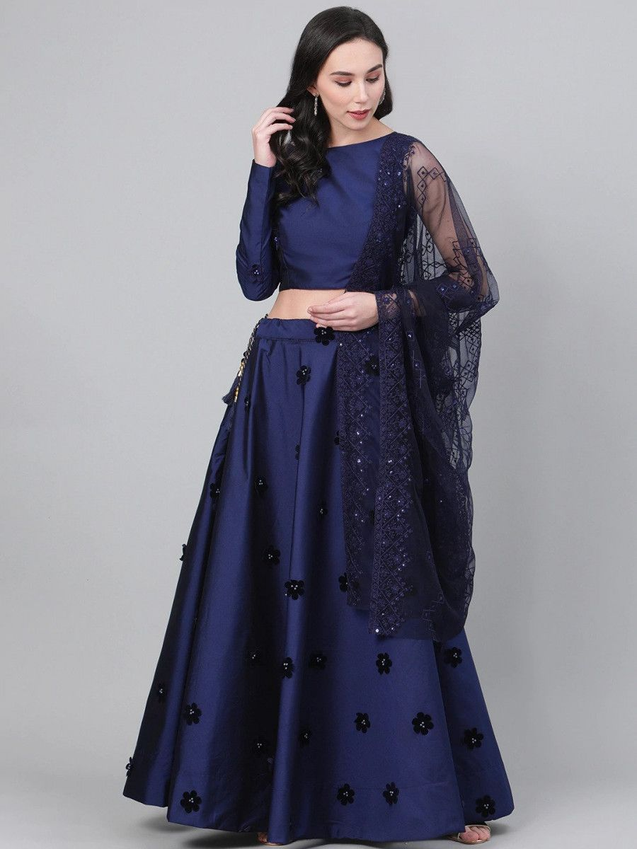 Navy Blue Applique Detail Semi-Stitched Myntra Lehenga & Unstitched Blouse with Dupatta