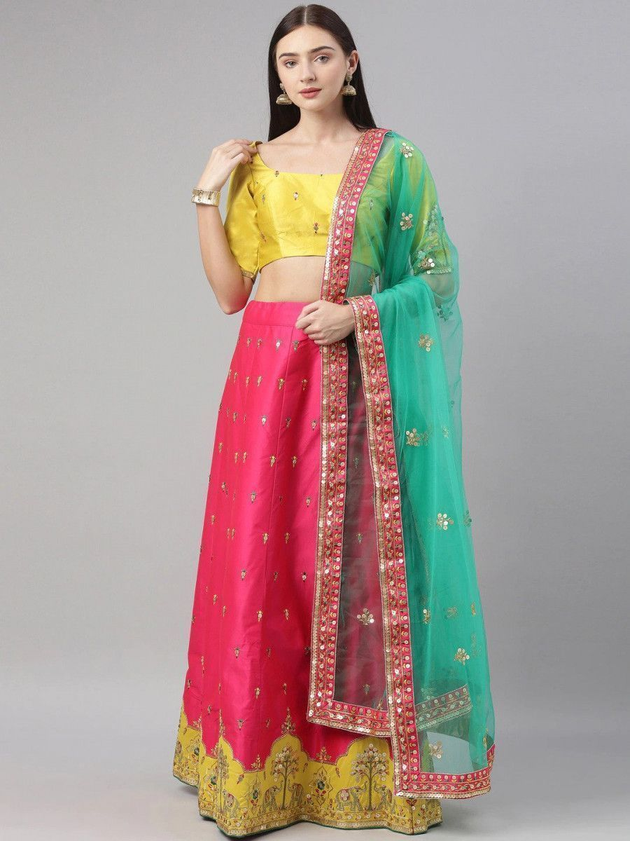 Pink & Yellow Embroidered Sequinned Myntra Lehenga & Blouse With Dupatta