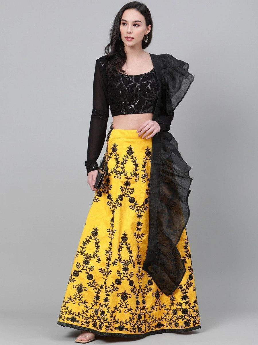 Yellow & Black Embellished Semi-Stitched Myntra Lehenga & Unstitched Blouse with Dupatta