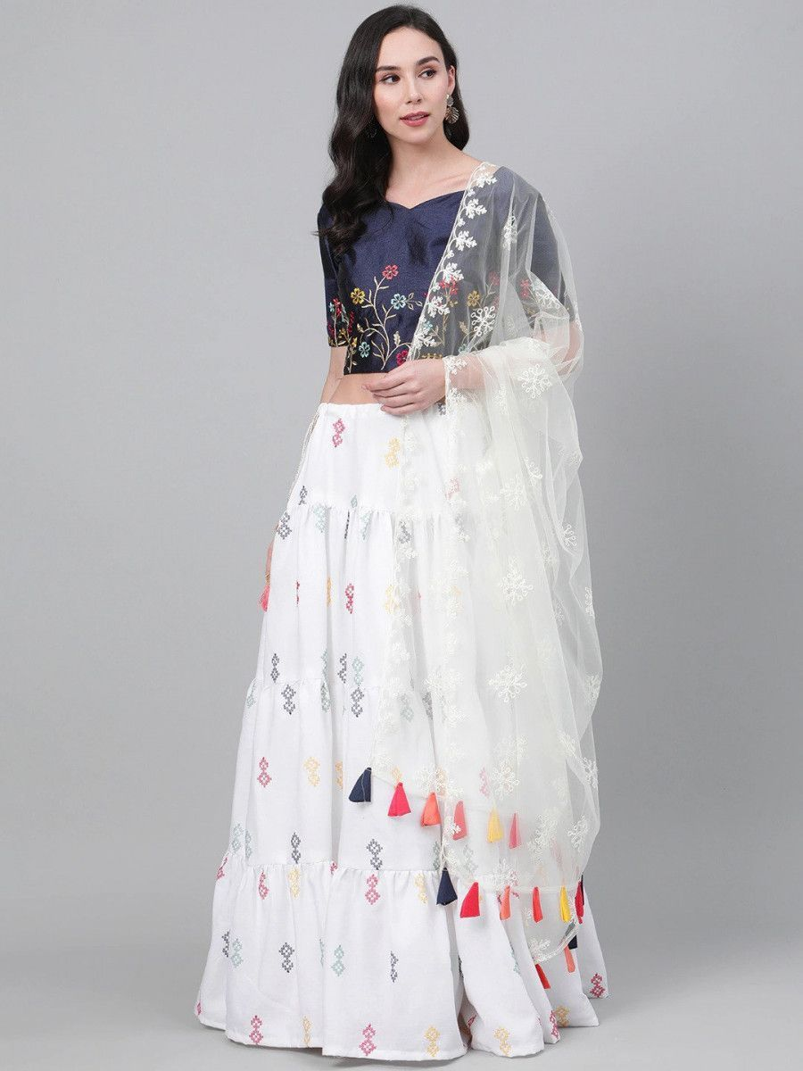 White & Navy Blue Embroidered Semi-Stitched Myntra Lehenga & Unstitched Blouse with Dupatta