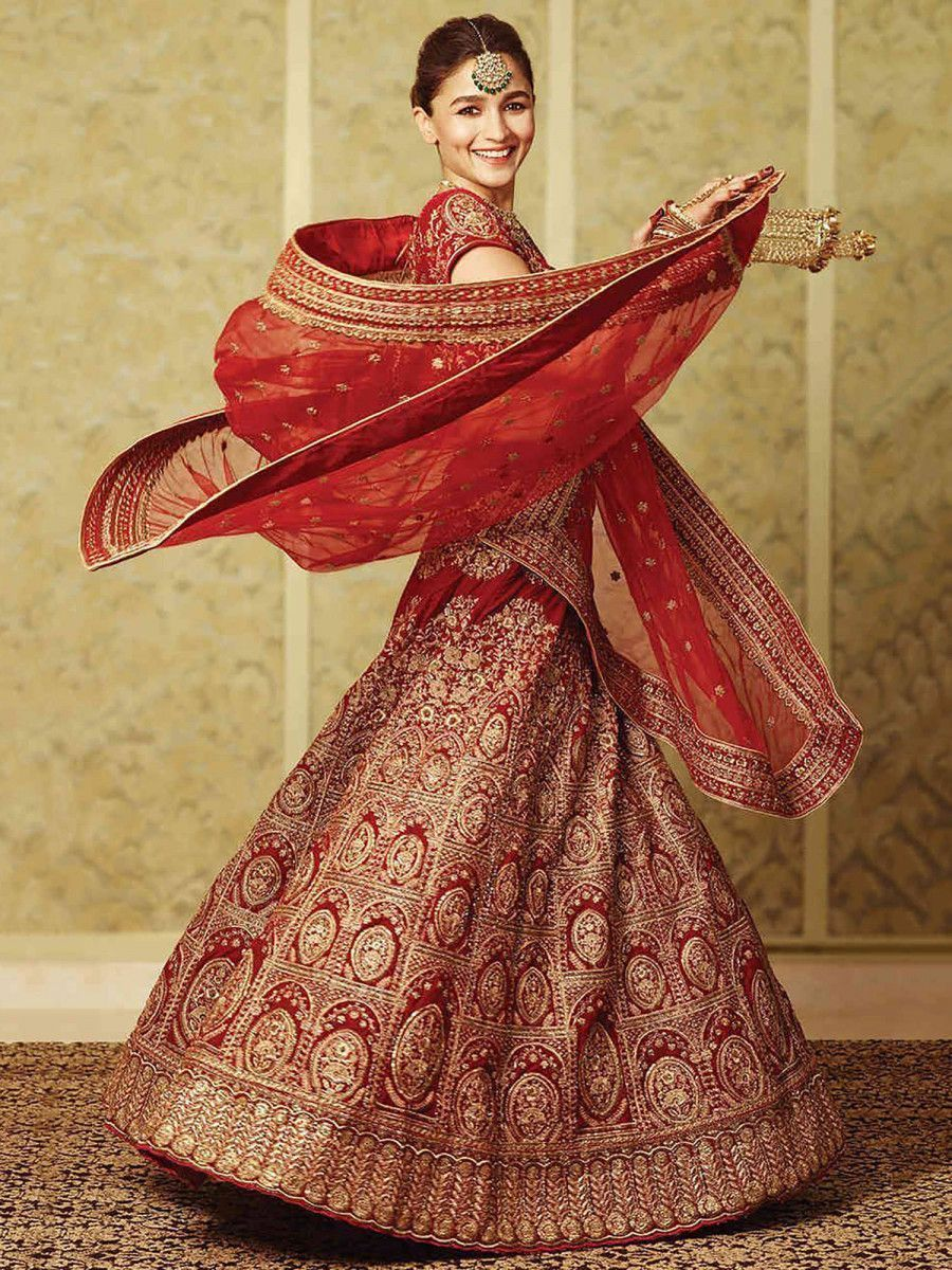 Alia Bhatt Red Heavy Embroidered Velvet Bridal Lehenga Choli