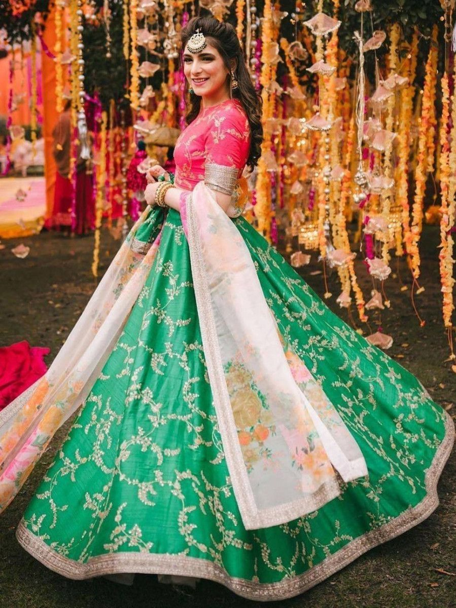 Green Embroidered Mulberry Bridal Lehenga Choli With Printed Dupatta