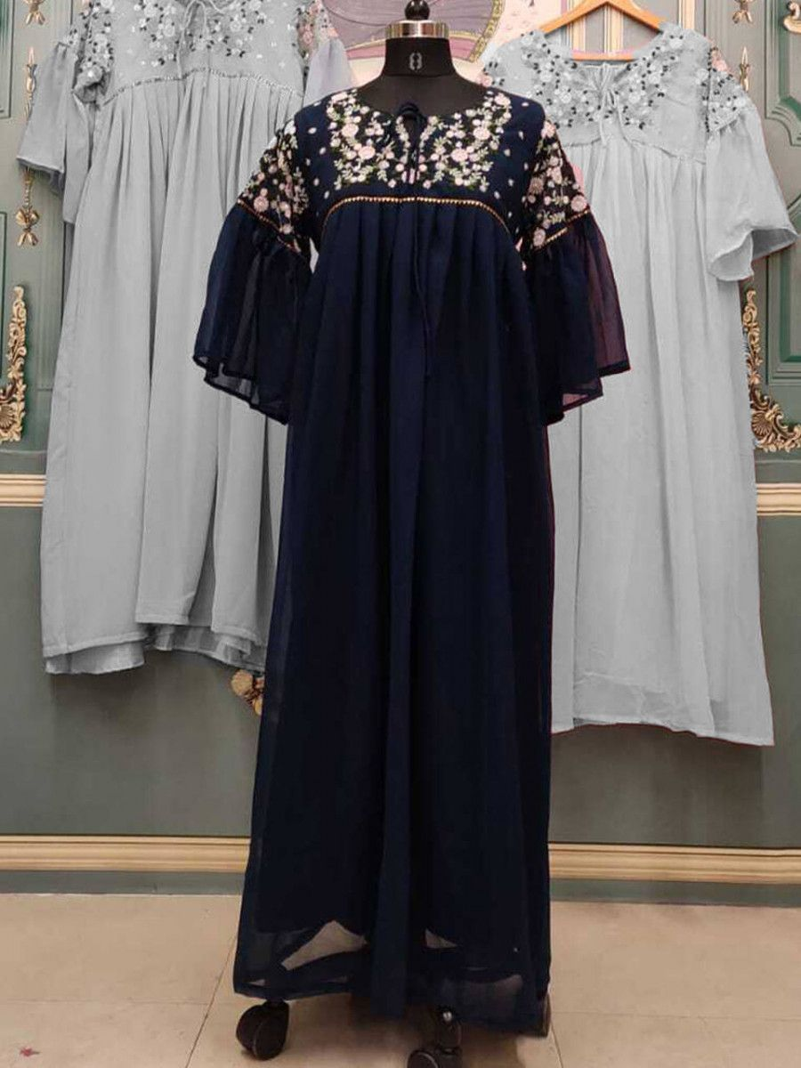 Navy Blue Floral Embroidered Georgette Party Wear Readymade Gown