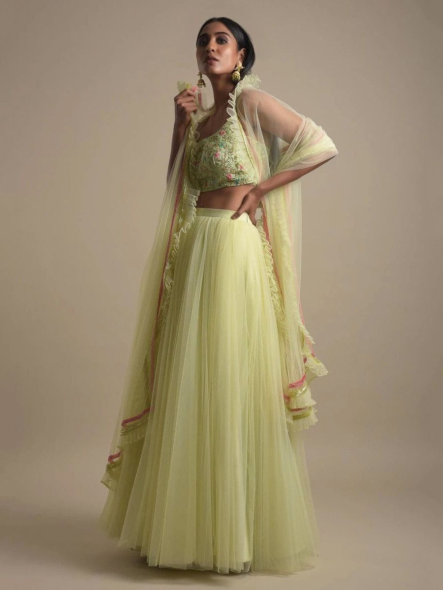 Mint Green Flaired Net Girlish Lehenga Choli With Dupatta