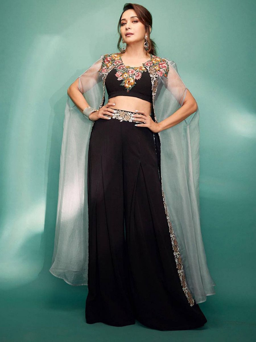 Madhuri Dixit Black Indo Western Palazzo Top With Jacket