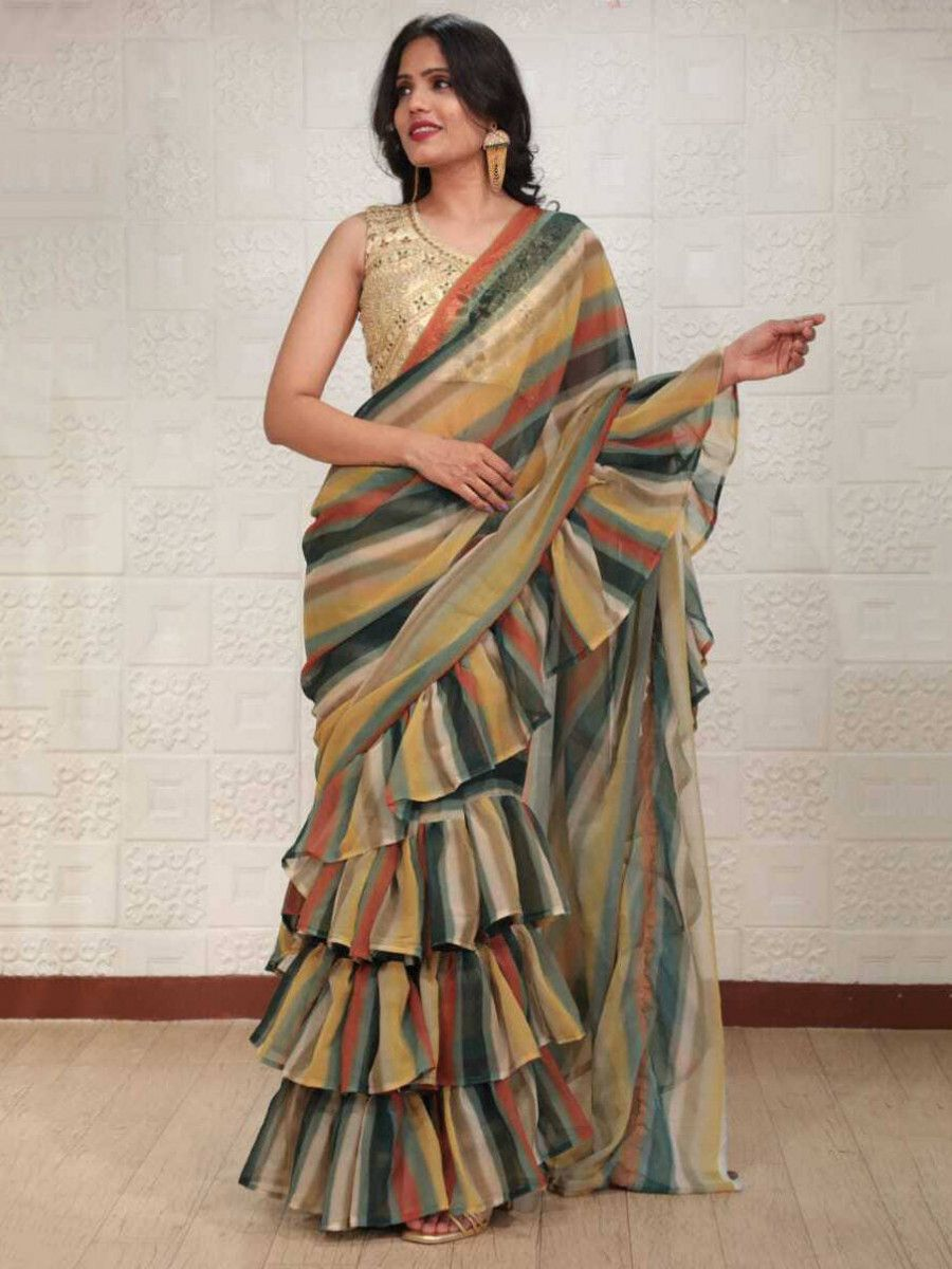 Multi-Color Ruffle Georgette Party Wear Saree With Blouse