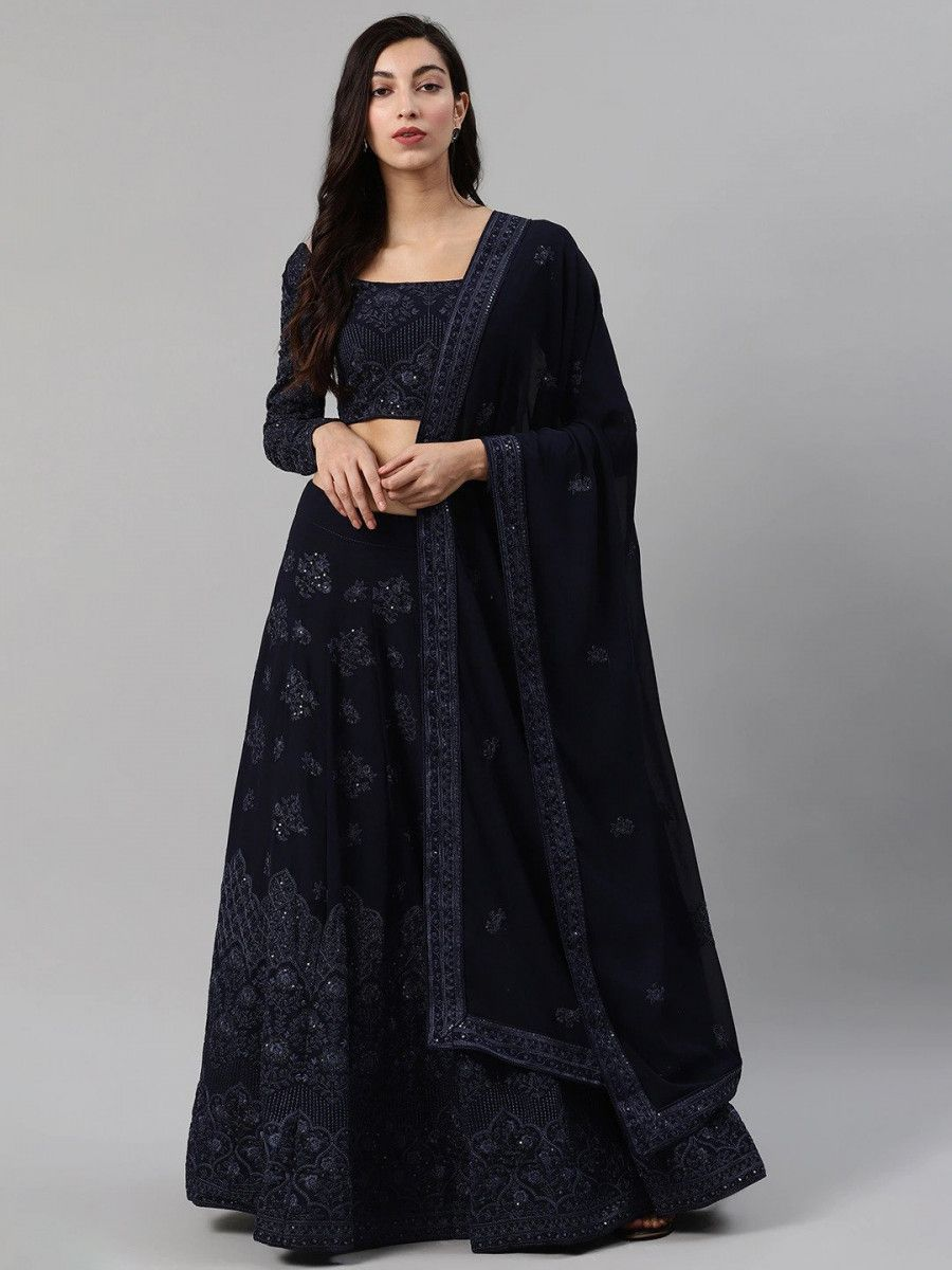 Navy Blue Embroidered Semi-Stitched Myntra Lehenga & Blouse with Dupatta