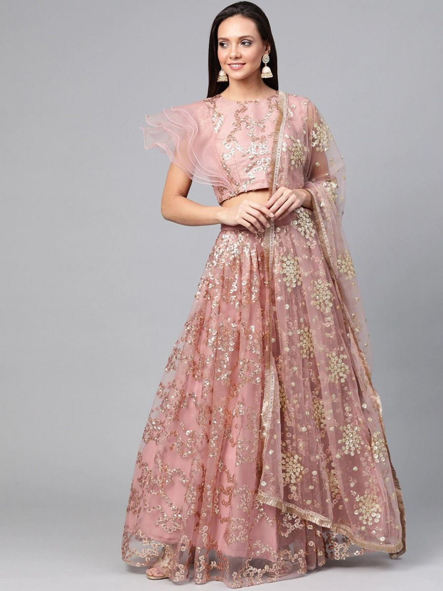 Dusty Pink & Golden Solid Semi-Stitched Myntra Lehenga & Unstitched Blouse with Dupatta