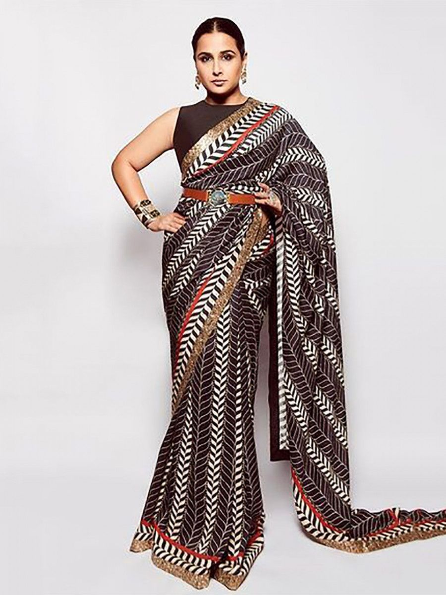Vidhya Balan Black Printed Paper Silk Party Wear Saree With Belt