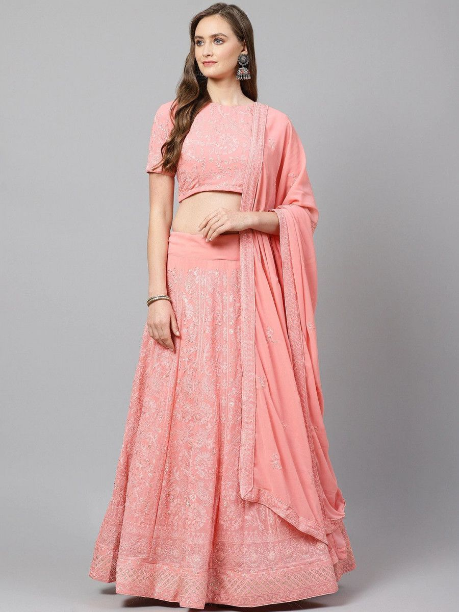Pink & Golden Semi-Stitched Myntra Wedding Wear Lehenga & Unstitched Blouse with Dupatta