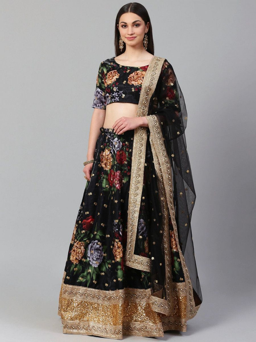 Black & Grey Printed Semi-Stitched Myntra Lehenga & Unstitched Blouse with Dupatta