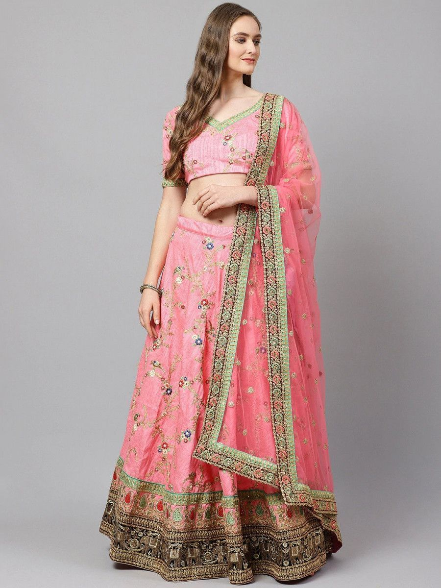 Pink & Green Embroidered Semi-Stitched Myntra Lehenga & Unstitched Blouse with Dupatta
