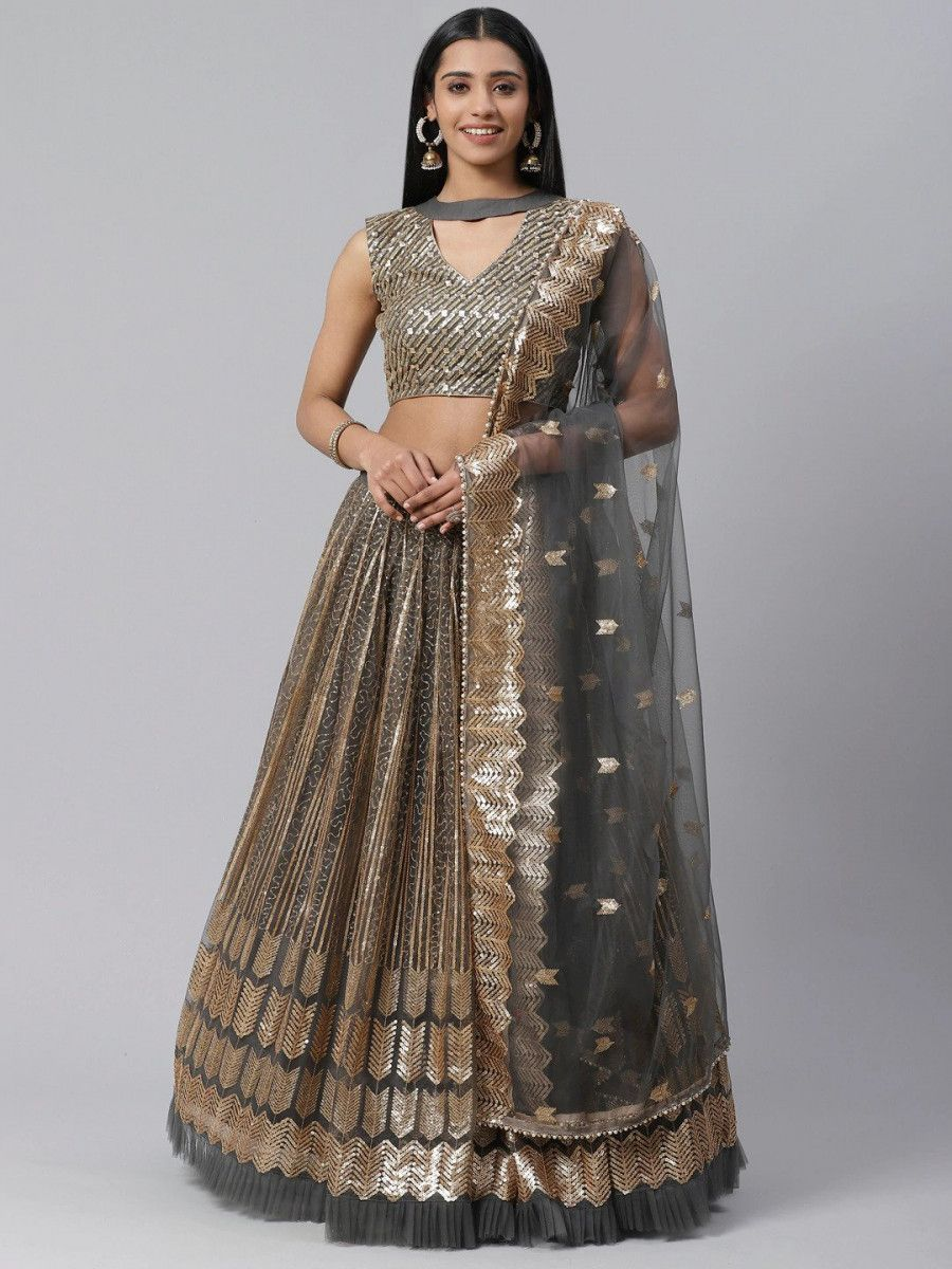 Charcoal Grey & Golden Semi-Stitched Myntra Lehenga & Unstitched Blouse with Dupatta