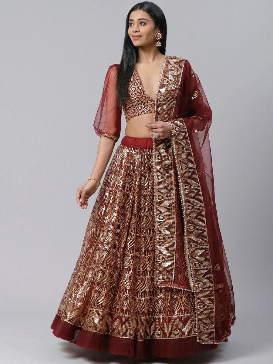 Maroon & Golden Sequinned Semi-Stitched Myntra Lehenga & Unstitched Blouse with Dupatta