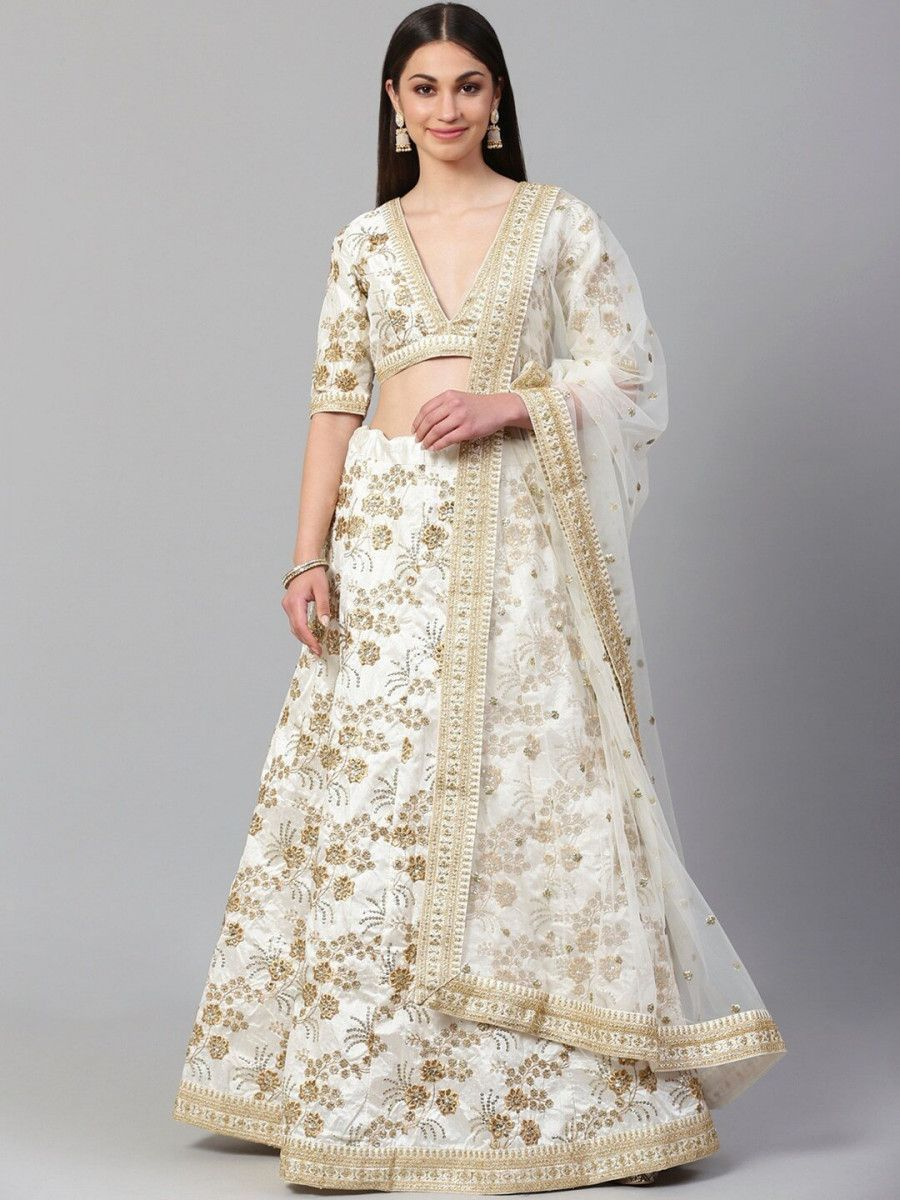 Off-White Semi-Stitched Myntra Lehenga & Unstitched Choli with Dupatta