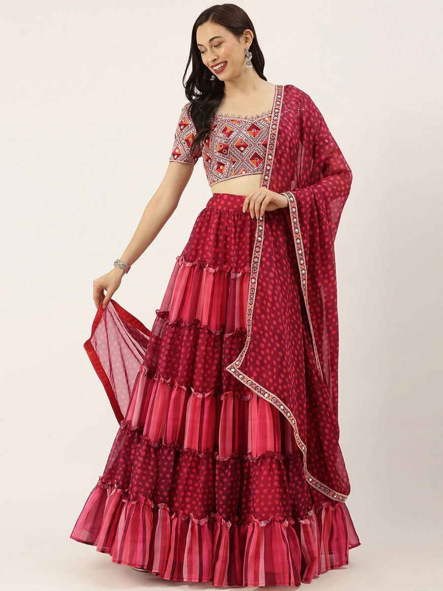 Red Printed Ruffle Semi-Stitched Myntra Lehenga & Blouse with Dupatta