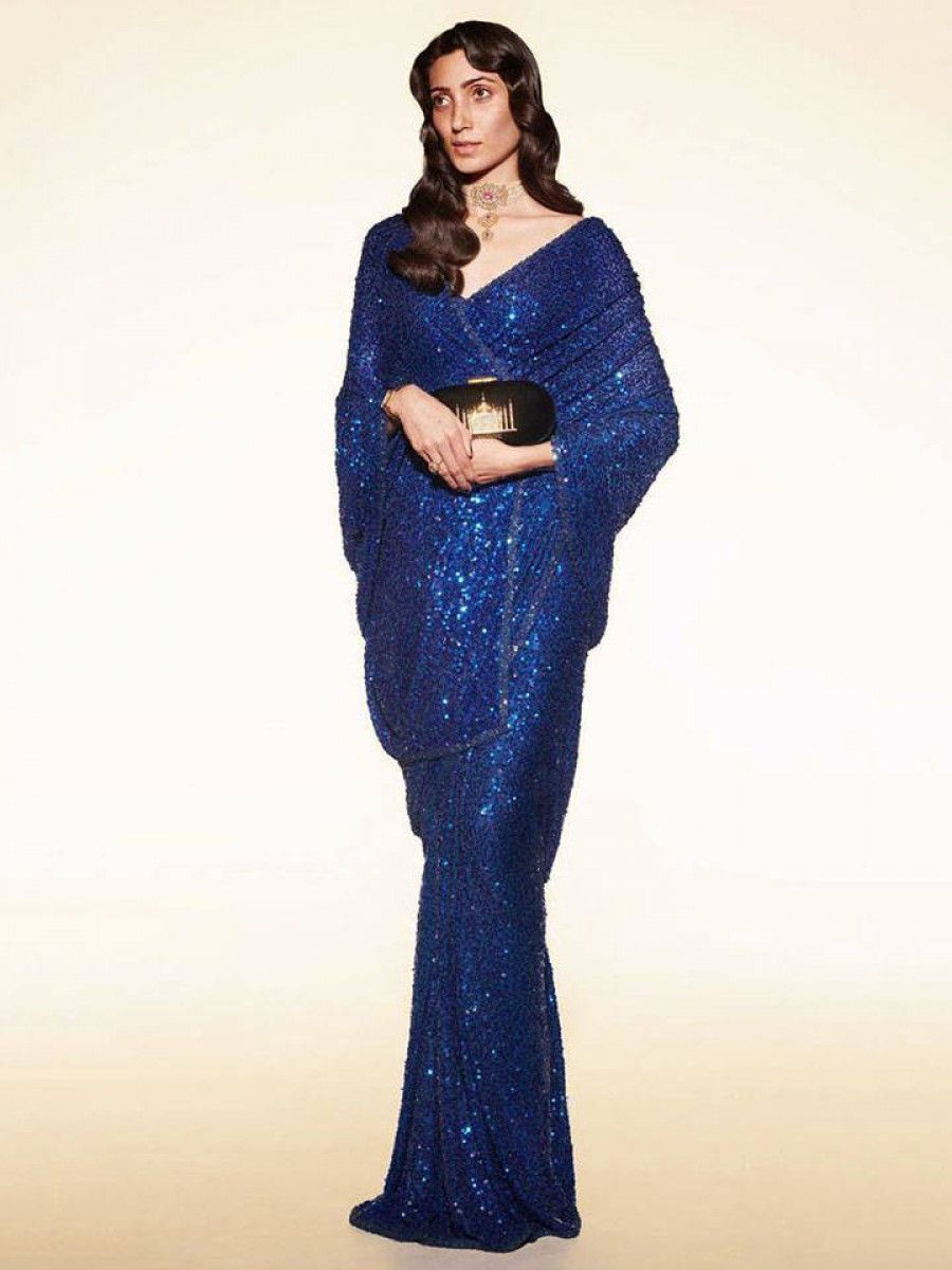 Sabyasachi Navy Blue Sequins Party Wear Saree With Blouse