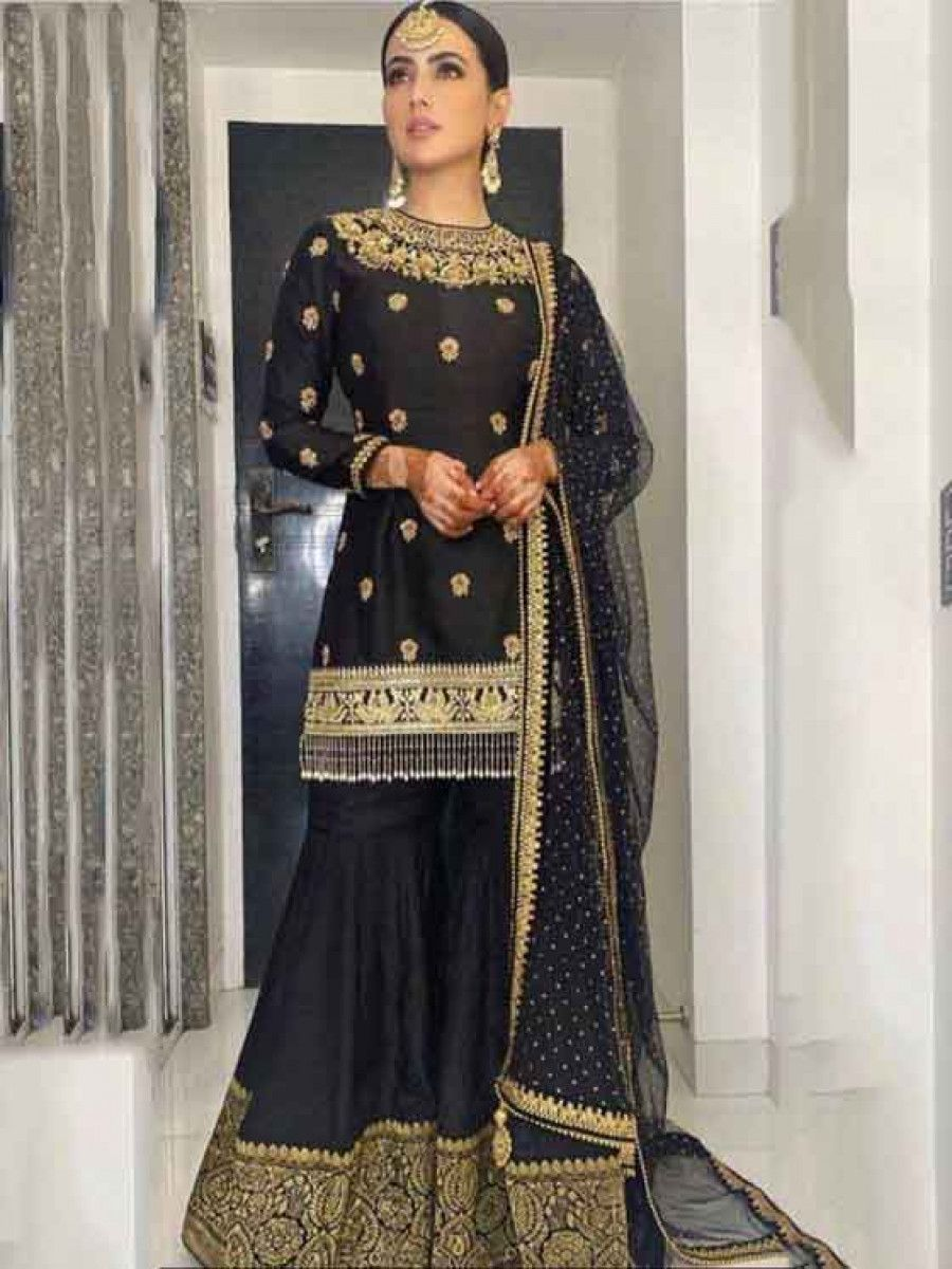 Sana Khan Black Dori Slub Silk Festival Wear Readymade Sharara Suit