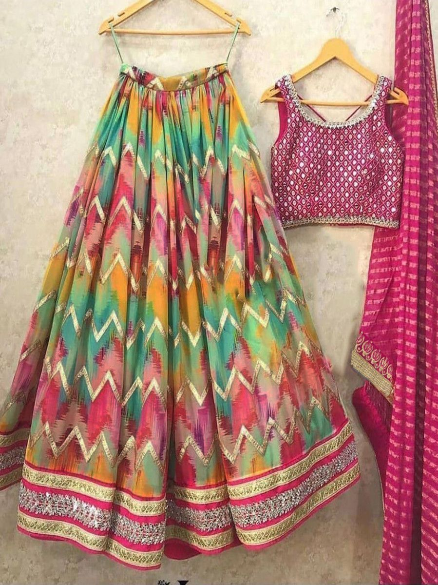 Multi-Color Digital Printed Taffeta Silk Festive Lehenga Choli