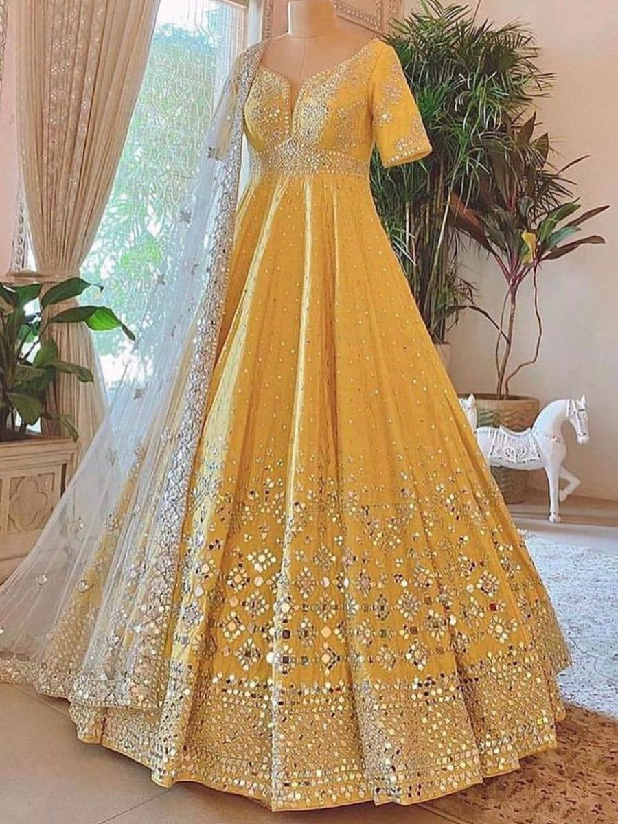 Readymade Yellow Foil Mirror Silk Wedding Wear Gown With Dupatta