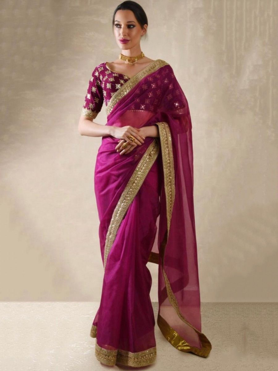 Magenta Embroidered Organza Wedding Wear Saree With Blouse