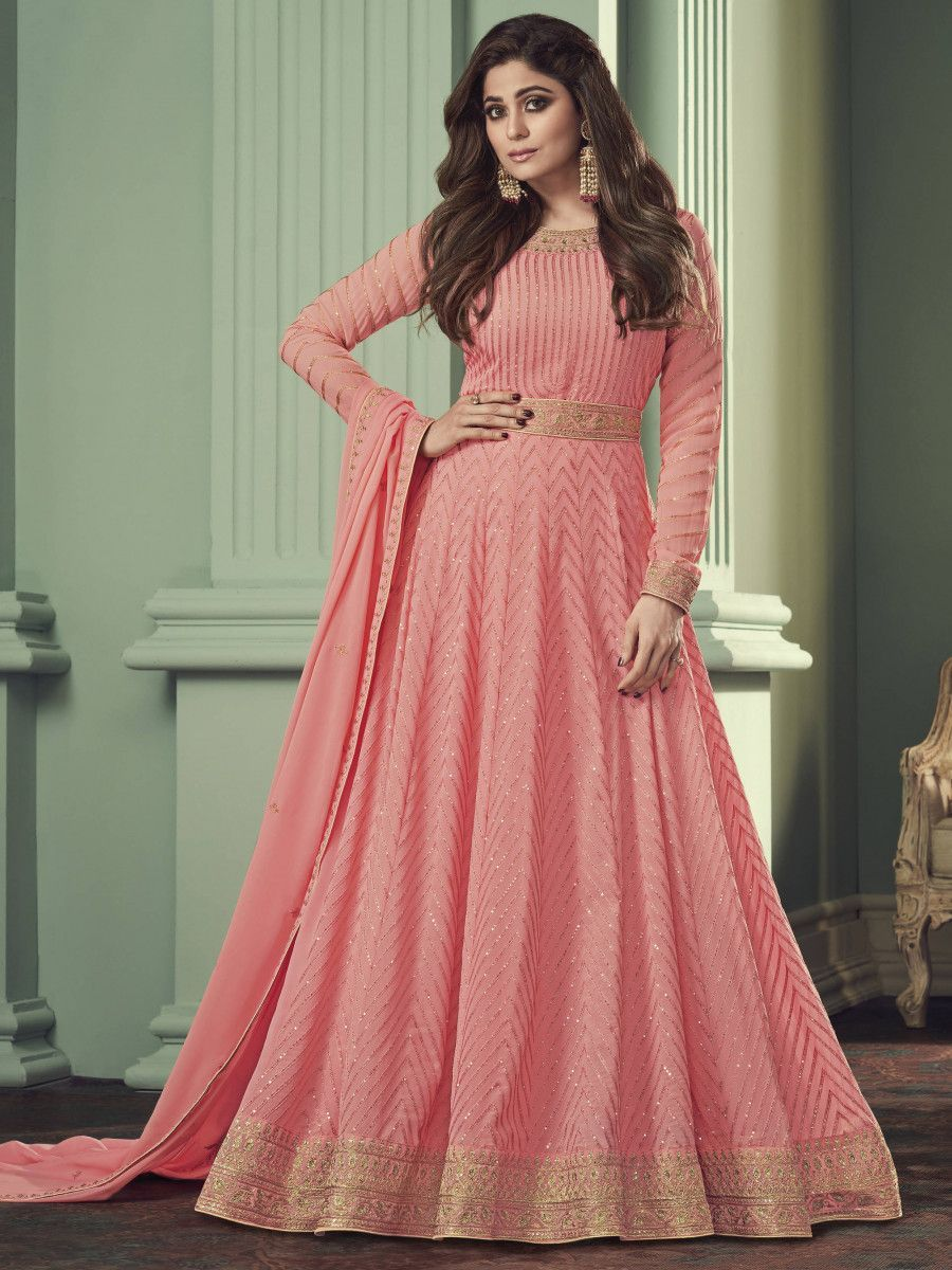 Peach Thread Embroidered Georgette Party Wear Anarkali Gown
