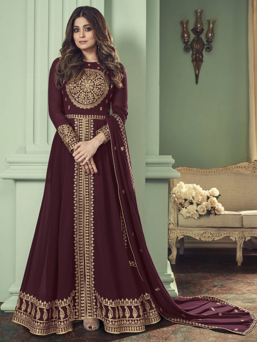 Brown Thread Embroidered Georgette Party Wear Slit Cut Gown