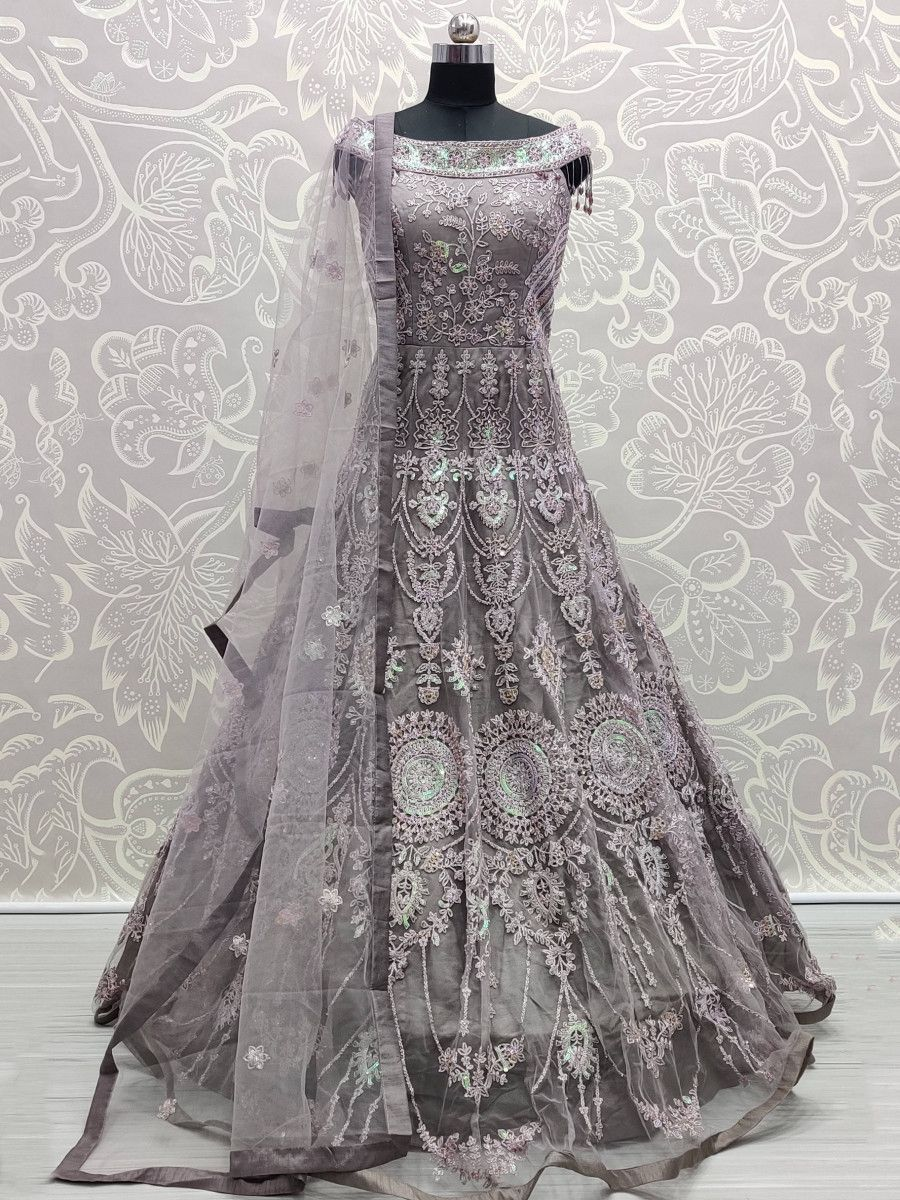 Lilac Sequins Net Party Wear Readymade Gown