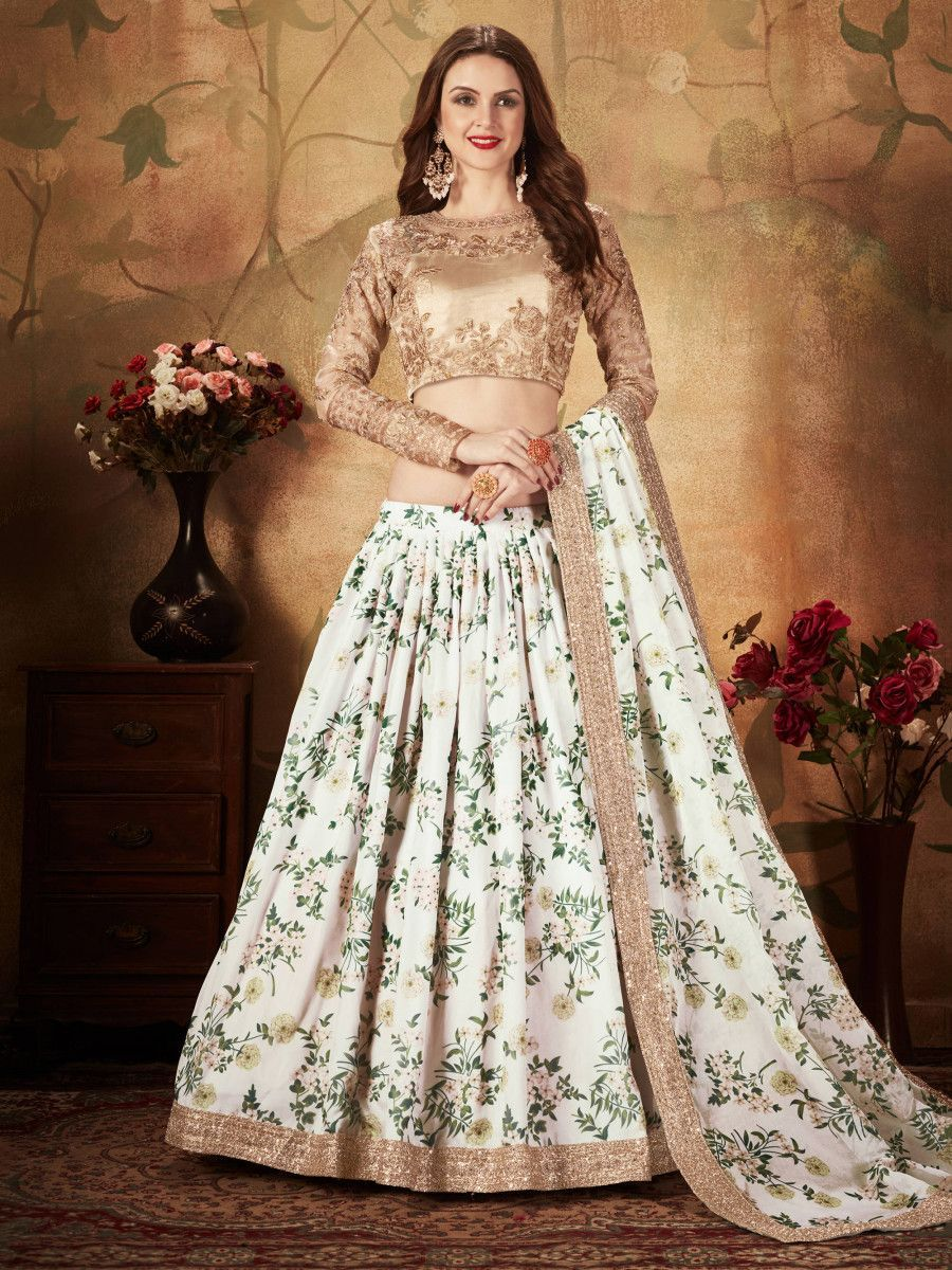 White Floral Digital Printed Organza Wedding Wear Lehenga Choli