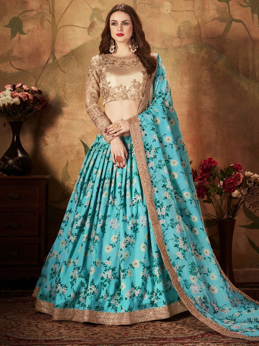 Sky Blue Floral Digital Printed Organza Wedding Wear Lehenga Choli